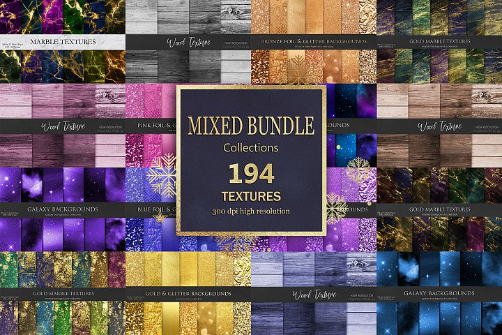 Gold Marble, Foil and Wood Mixed Bundle 194 Textures