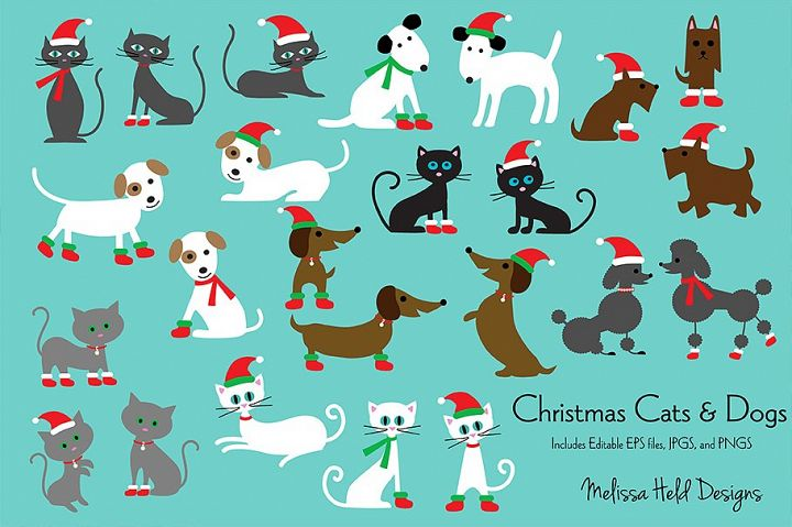 Christmas Cats & Dogs Clipart