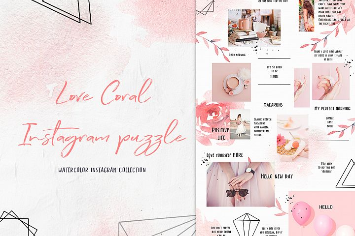 Love Coral instagram puzzle, social media template pink