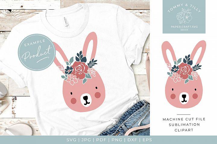Cute Easter Floral Rabbit - Cute Nursery Kids SVG Cut File