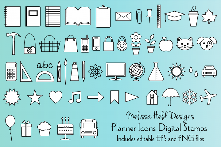 Planner Icons Digital Stamps