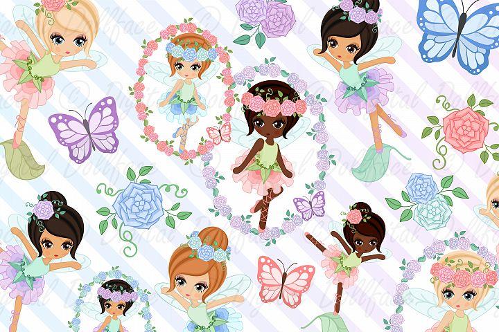 Garden Fairies Clipart with Butterflies, Floral Frames