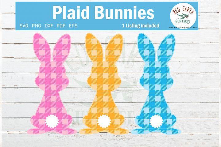 Easter plaid bunny SVG,gingham easter rabbit SVG, plaid svg