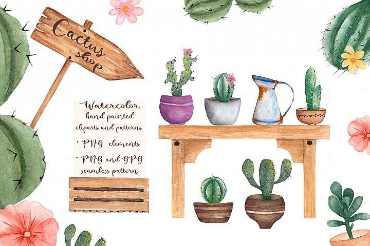 Watercolor Cactus Shop