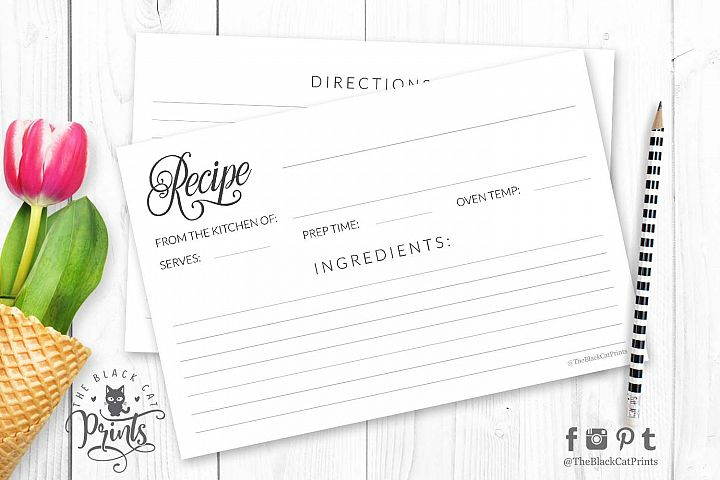 Simple minimalist Recipe card | Printable | Double Sided
