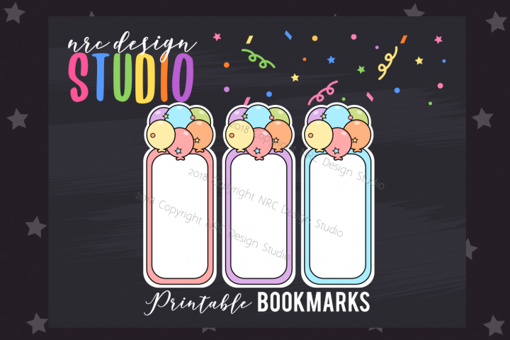 Party Balloons Bookmark, Planner Printable