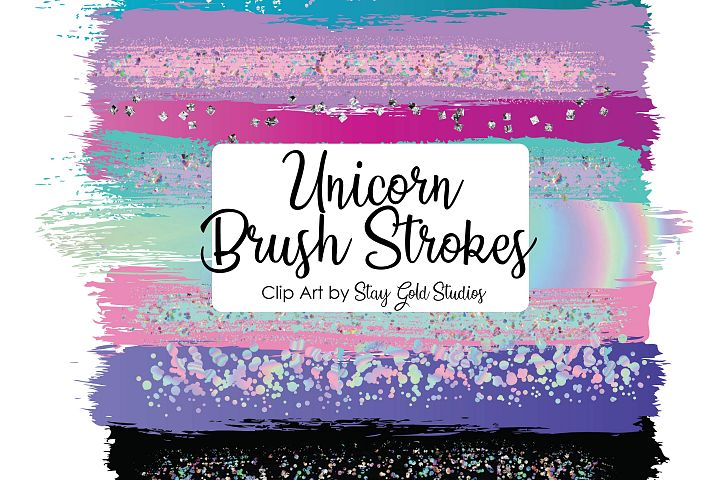 Unicorn Brush Strokes Clipart Pack