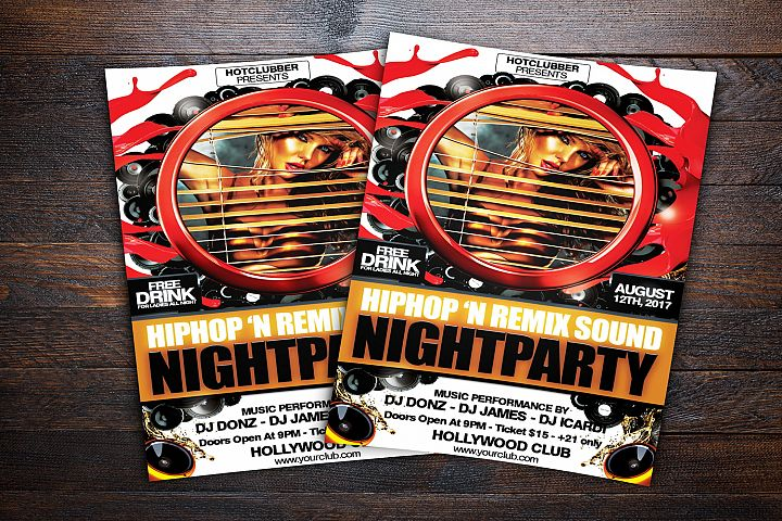 Hiphop and Remix Sound Night Party Flyer