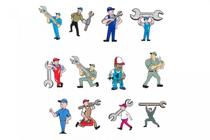 Construction Worker Icon Shield Set