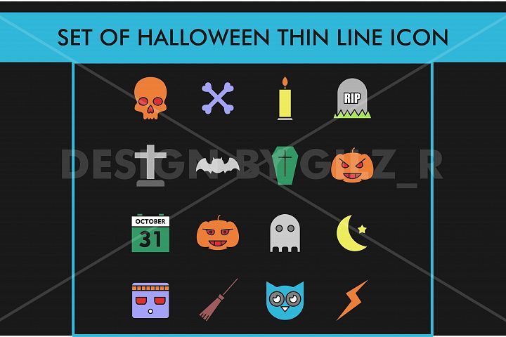 Set Colorful Halloween Thin Line Icon Mono Line Isolated in Black Background For Web, Mobile Application, Elements