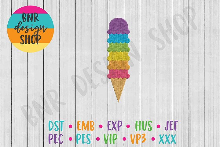 Rainbow Machine Embroidery Design, Ice Cream Embroidery