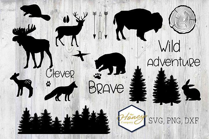 Woodland Animal Bundle SVG PNG DXF Nursery Shapes Bear Moose