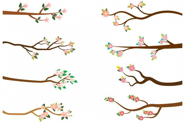 Tree branches with pink flowers clipart set