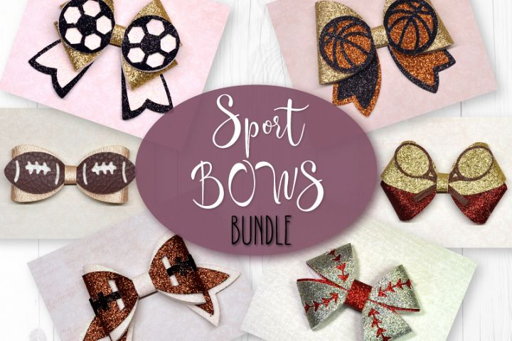 6 Sport Hair bow template SVG, Faux leather bow Cricut file