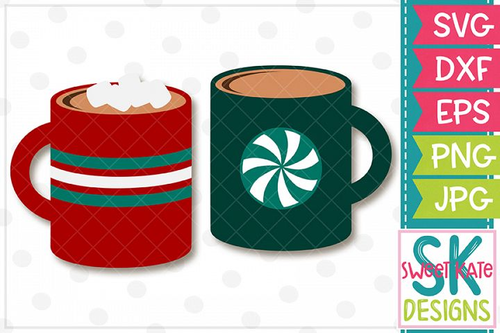 Hot Cocoa Mugs SVG DXF EPS PNG JPG