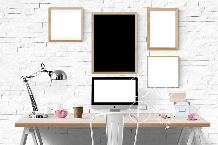 Computer mockup & desk mockup bundle - Free Design of The Week Design1