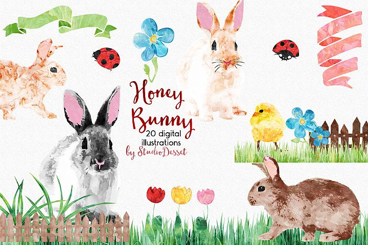 Honey Bunny - Spring, Easter Watercolor Illustrations