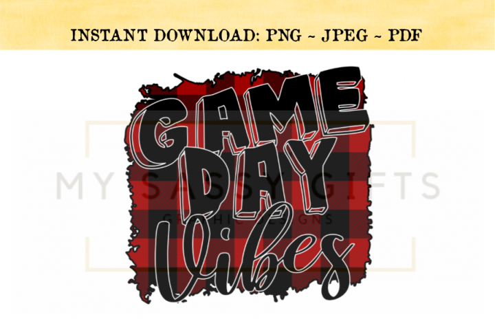 Game Day Vibes For Football Basketball Baseball Print PNG
