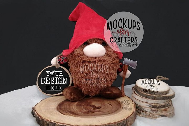 Wood Slice Ornament, Winter, Christmas, Rustic, Gnome