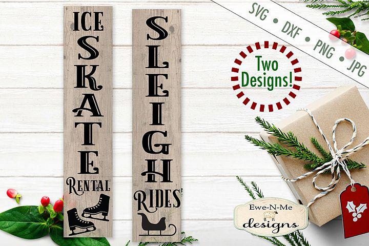 Skate Rental - Sleigh Rides - Christmas - Vertical SVG