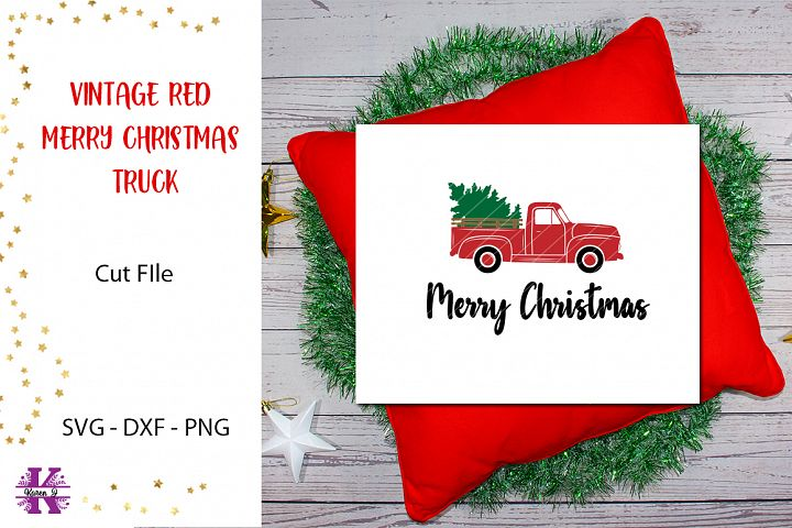 Vintage Red Merry Christmas Truck SVG