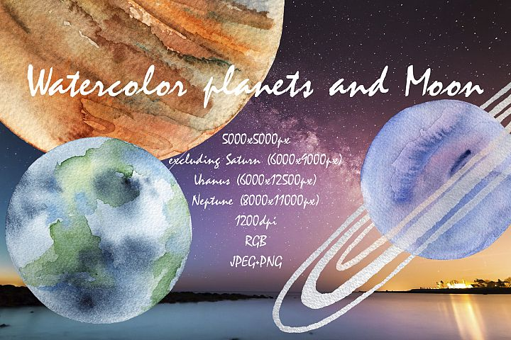 Planets and Moon watercolor set.