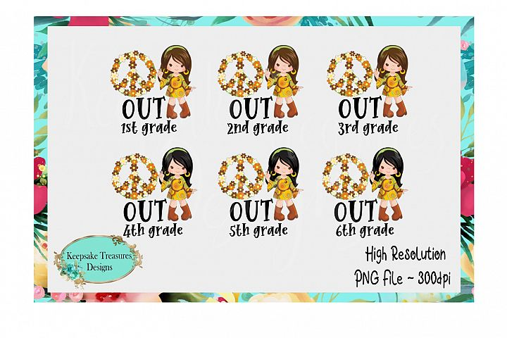 End of School Peace Out Grades 1-6 Girl Set
