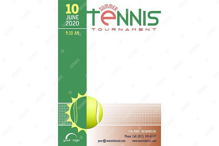 Summer Tennis Tournament poster template.