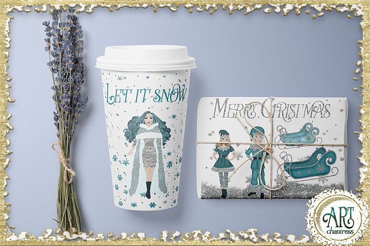 Christmas Snow Queen in Turquoise and Silver 25 PNG images