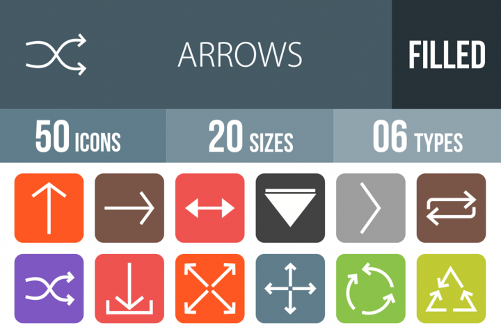 50 Arrows Filled Round Corner Icons