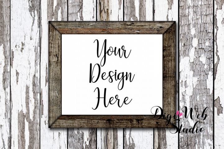 Wood Sign Mockup - Rustic Frame on Distressed Wood