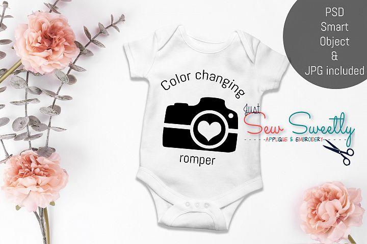 Baby Girl Floral Romper Shirt Mock up with PSD Smart Objects