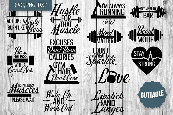 Gym quote SVG bundle, Fitness cut files, fitness svg quotes