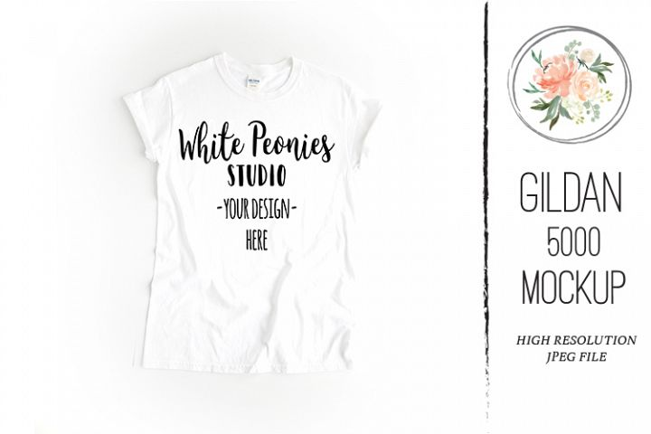 White GILDAN 5000 Shirt Mockup