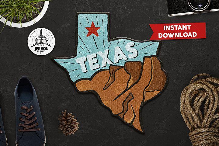 Texas State Retro Adventure Badge / Vintage Travel Logo SVG
