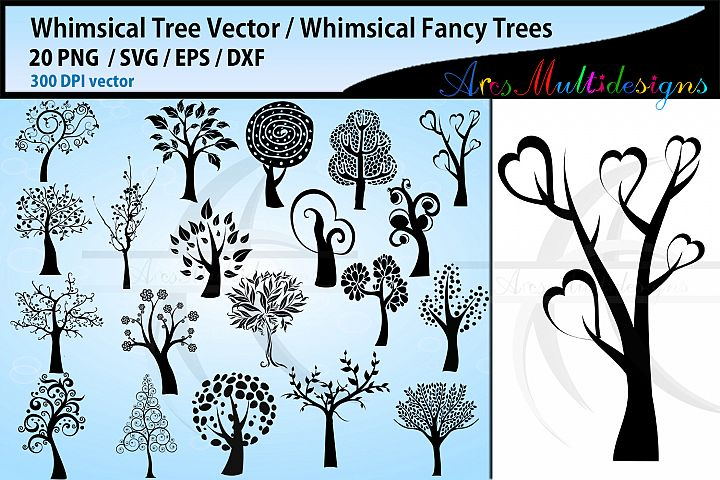 whimsical tree SVG / whimsical tree silhouettes svg bundle