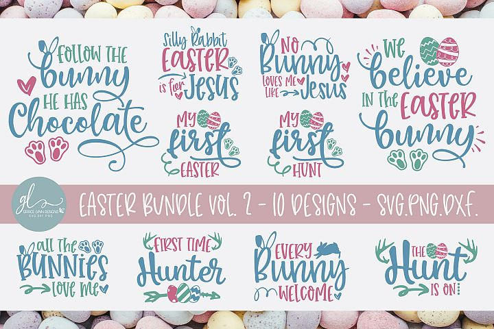 Easter Bundle Vol. 2 - 10 Easter Designs - SVG, DXF & PNG