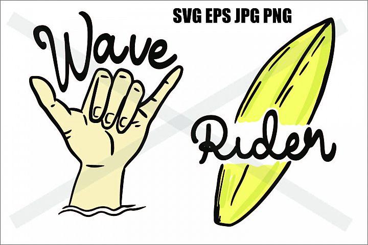 Wave Shaka Brah and Surf Rider - SVG EPS JPG