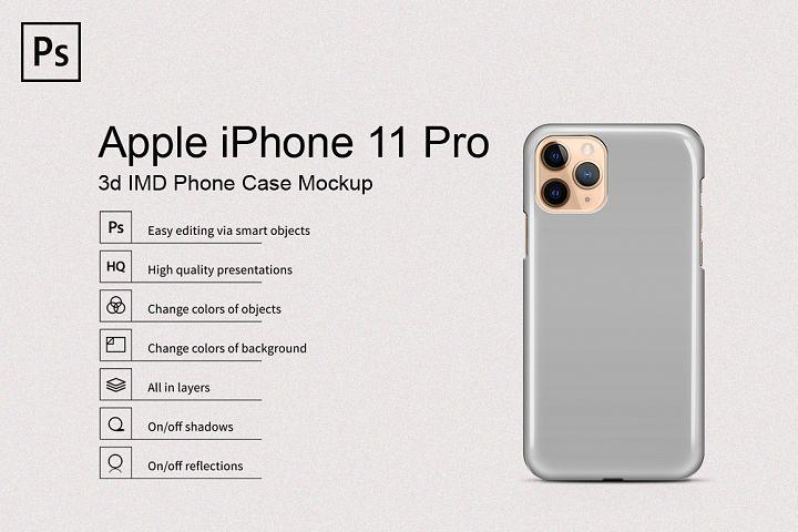Apple iPhone 11 Pro 3d IMD Phone Case Mockup Back View