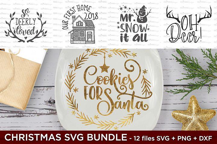Christmas Bundle - 12 x SVG PNG DXF files
