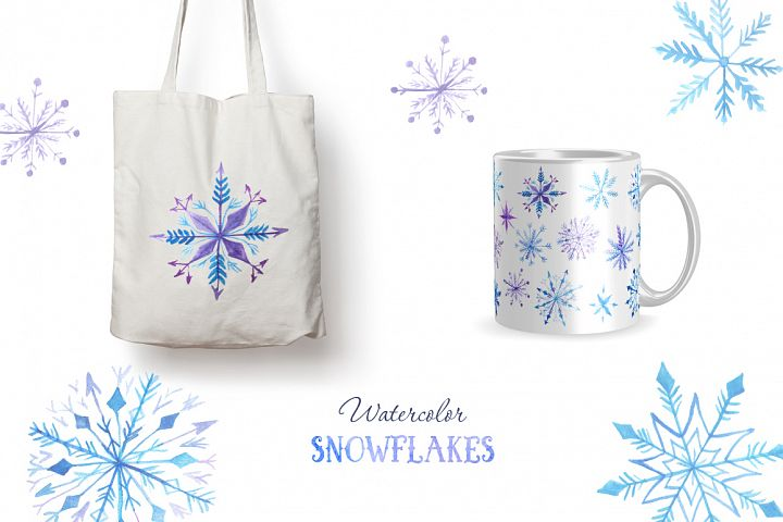 Watercolor Snowflakes Set Vol.2 - Free Design of The Week Design2