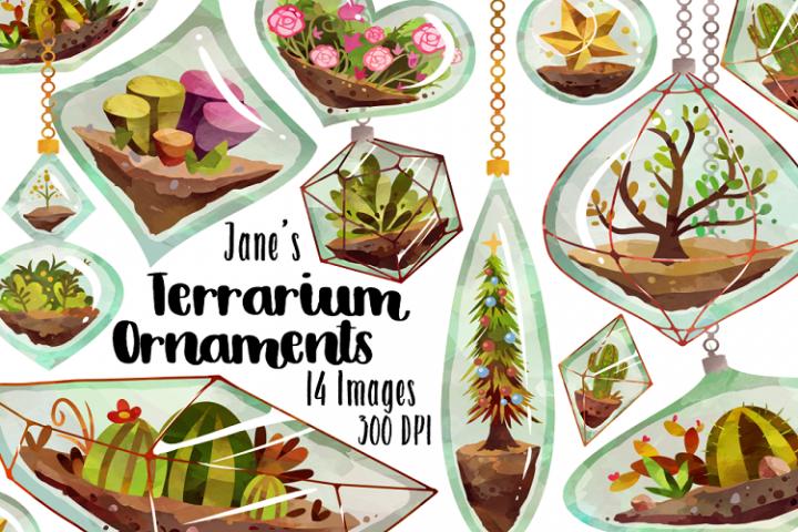 Watercolor Terrarium Ornament Clipart
