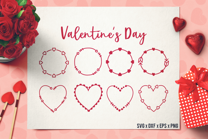 Valentines Day Frames SVG - Valentines Day SVG - Handdrawn