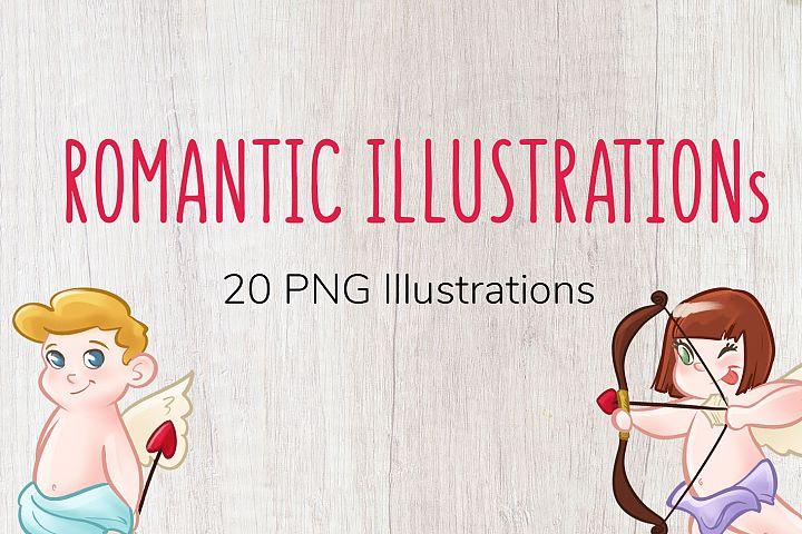 Romantic Cupido - 20 PNG Illustrations