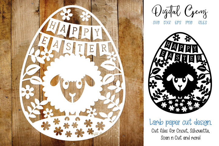 Happy Easter, Lamb paper cut SVG / DXF / EPS / PNG files