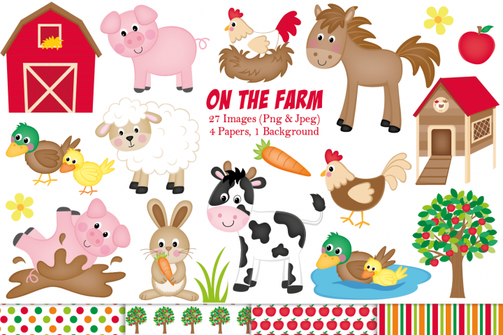 Farm clipart, Farm animals graphics & illustrations - Free Design of The Week Font