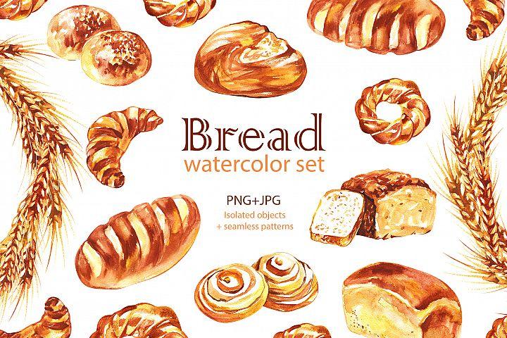 Watercolor Bread cliparts