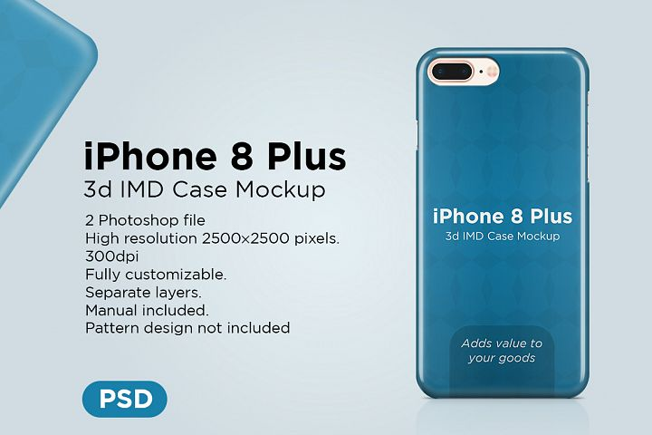 Apple iphone 8 plus 3d case Mockup