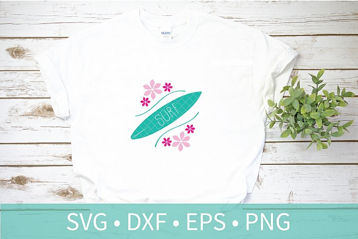 Surfboard Flowers Tropical SVG - Vacation - Ocean Wave - DXF