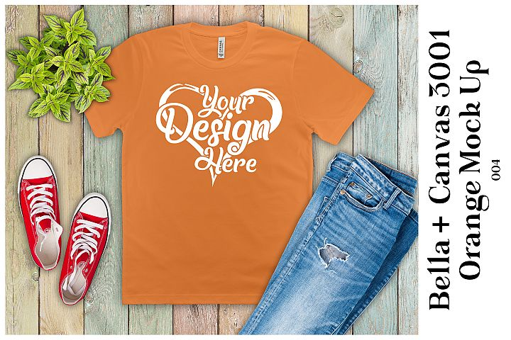 Mens T-Shirt Mockup Orange Bella Canvas 3001 Mock up